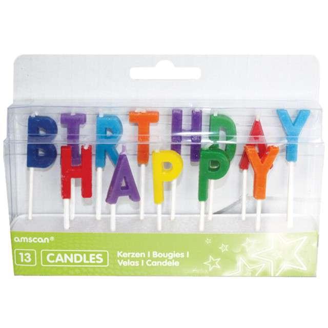 """Świeczki na tort """"HAPPY BIRTHDAY"""", kolorowe, AMSCAN"""