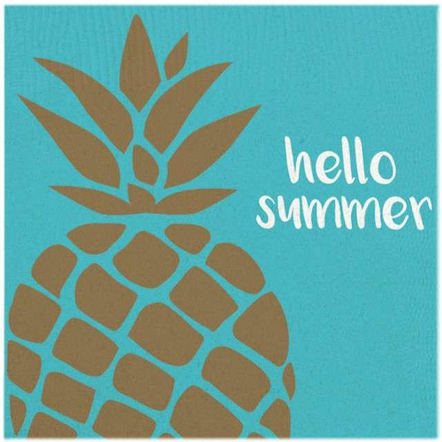 "Serwetki ""Ananas - Hello Summer"", AMSCAN, 33 cm, 20 szt"
