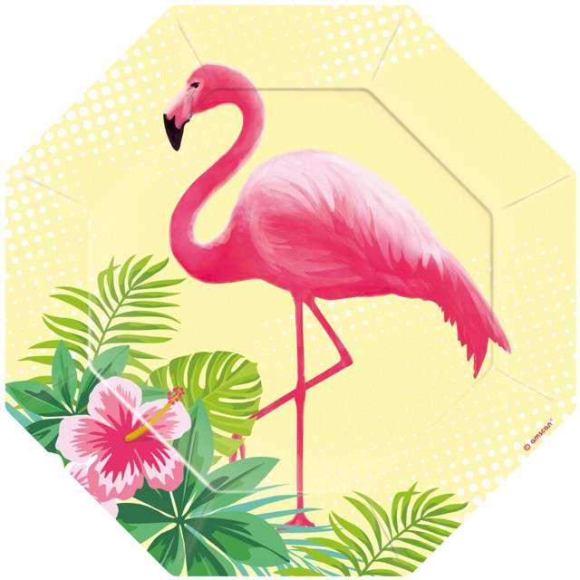 """Talerzyki papierowe """"Flamingo Paradise"""", AMSCAN, 18 cm, 6 szt"""