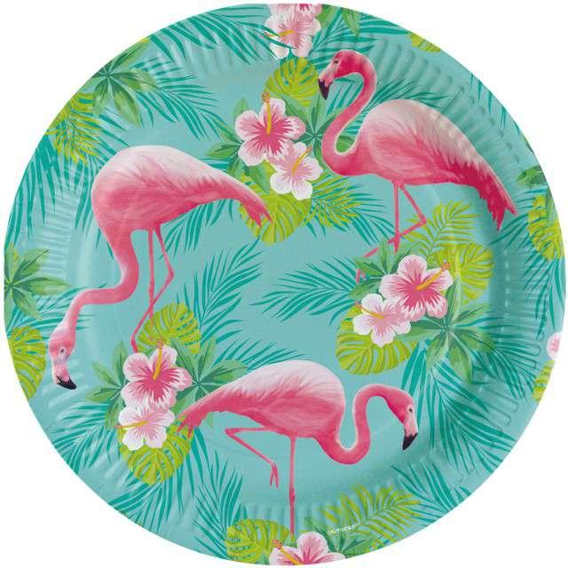 """Talerzyki papierowe """"Flamingo Paradise"""", AMSCAN, 23 cm, 8 szt"""