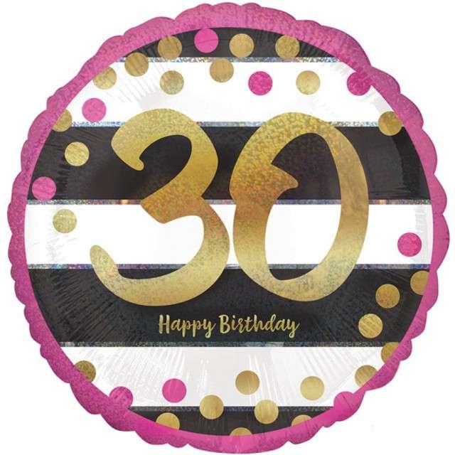 """Balon foliowy """"30 Urodziny - Milestone"""", AMSCAN, 17"""" CIR"""
