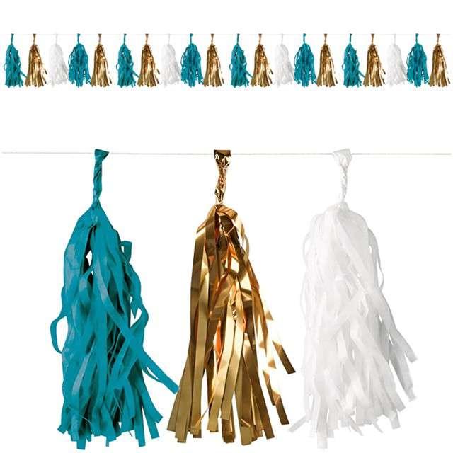 """Girlanda """"Frędzle"""", turkusowo-złoto-biała, AMSCAN, 300 cm"""
