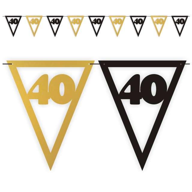 """Baner flagi """"Urodziny 40"""", czarno-złoty, 3,6 m"""
