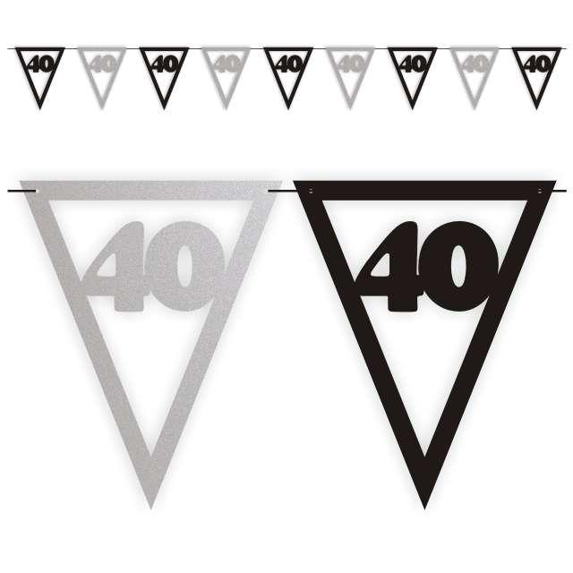 """Baner flagi """"Urodziny 40"""", czarno-srebrny, 3,6 m"""