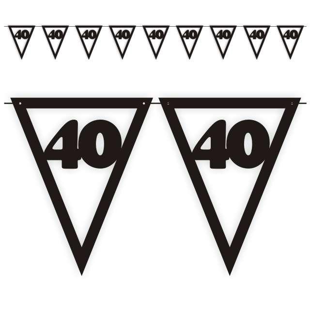 """Baner flagi """"Urodziny 40"""", czarny, 3,6 m"""