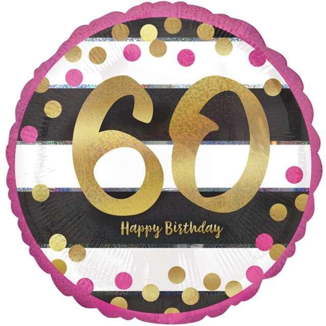 """Balon foliowy """"60 Urodziny - Milestone"""", AMSCAN, 17"""" CIR"""