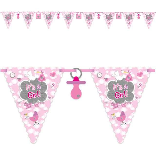"Baner flagi ""Its a Girl"", różowy, FOLAT, 600 cm"