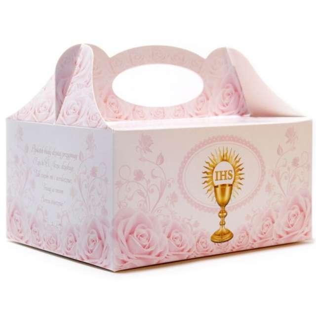 """Pudełko na ciasto """"Komunia IHS"""", różowe, 5 szt"""