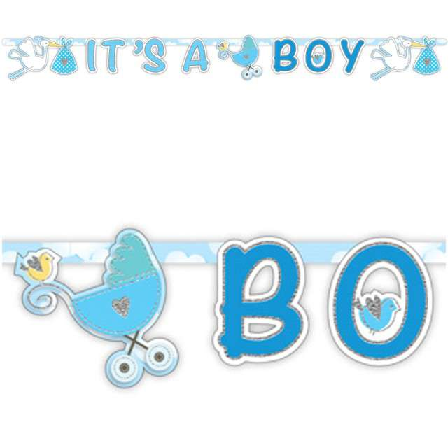 "Girlanda ""Baby Shower - ITS A BOY"", błękitna, FOLAT, 170 cm"