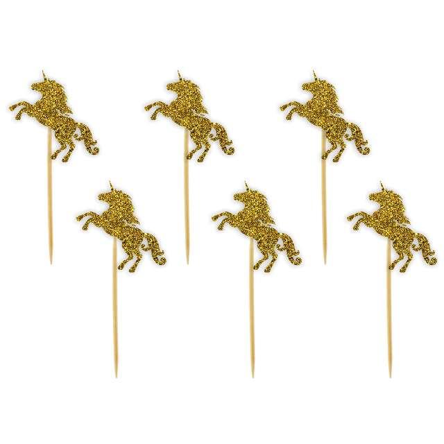 """Pikery """"Jednorożce"""", złote brokatowe, 6 szt"""
