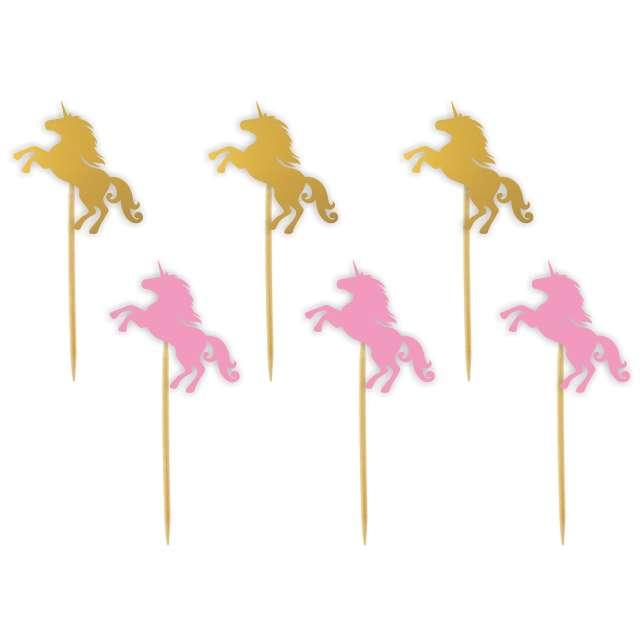 """Pikery """"Jednorożce"""", różowo-złote, 6 szt"""