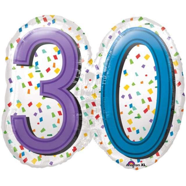 """Balon foliowy """"Urodziny 30 Rainbow Birthday"""", AMSCAN, 25"""" SHP"""