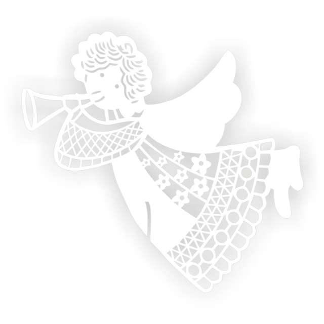 """Dekoracja na kieliszki """"Aniołek Art"""", biała, 6 szt"""