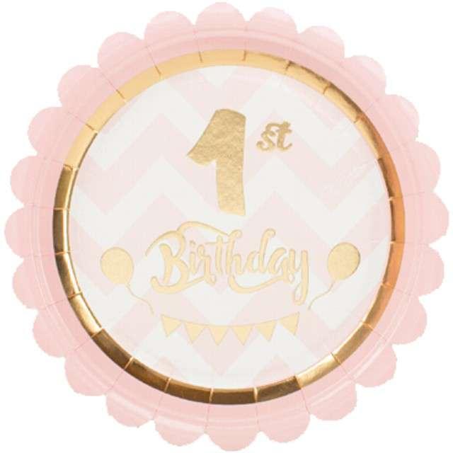 """Talerzyki papierowe """"1st Birthday Chic Pink"""", GIVI ITALIA, 18 cm, 8 szt"""