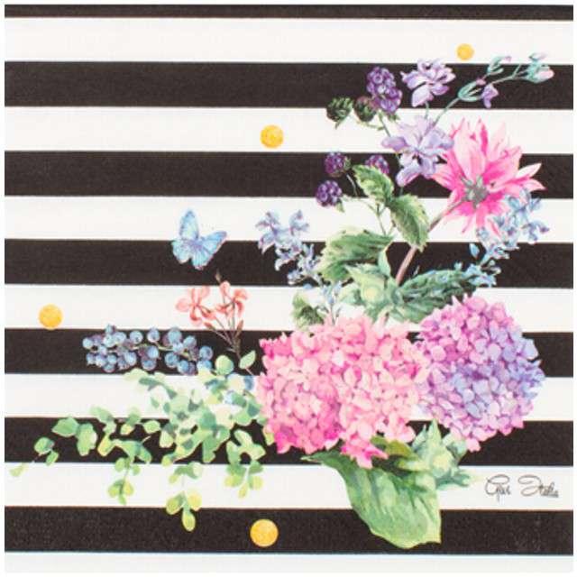 Serwetki Black & Flowers GIVI ITALIA 33cm 16szt