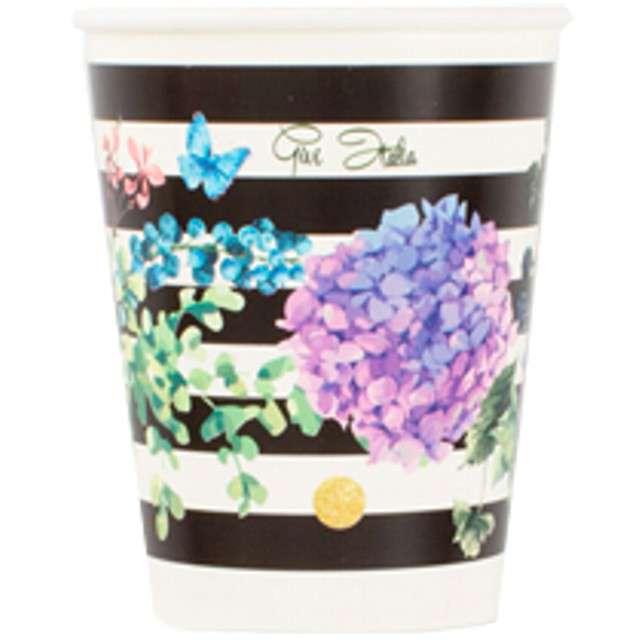 """Kubeczki papierowe """"Black & Flowers"""", GIVI ITALIA, 250 ml, 8 szt"""