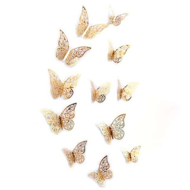 """Dekoracja """"Motyl 3D"""", złoty, 12 szt"""