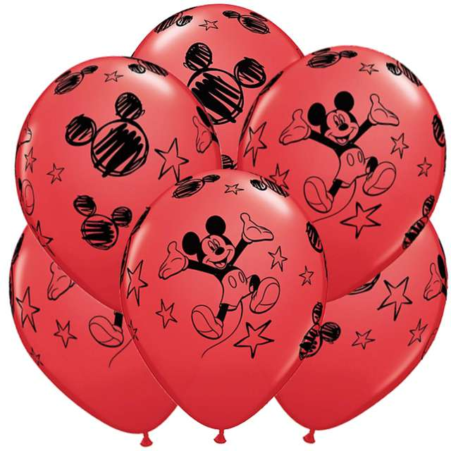 "Balony ""Mickey Mouse"", czerwone, QUALATEX, 12"", 6 szt"