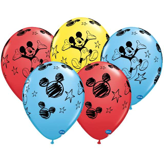 "Balony ""Mickey Mouse"", mix, QUALATEX, 11"", 25 szt"