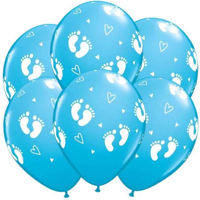 """Balony """"Stópki"""", błękitne, QUALATEX, 11"""", 6 szt"""