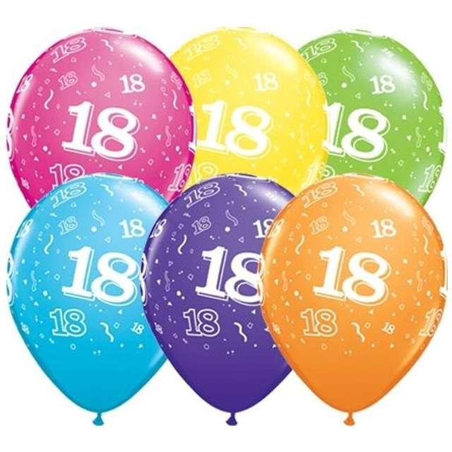 """Balony """"18 urodziny"""", pastel mix, QUALATEX, 11"""", 6 szt"""