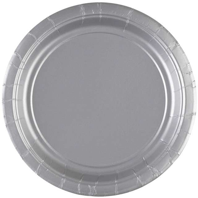 "Talerzyki papierowe ""Premium AMSCAN S - jumbo pack"", srebrne, 18 cm, 20 szt"