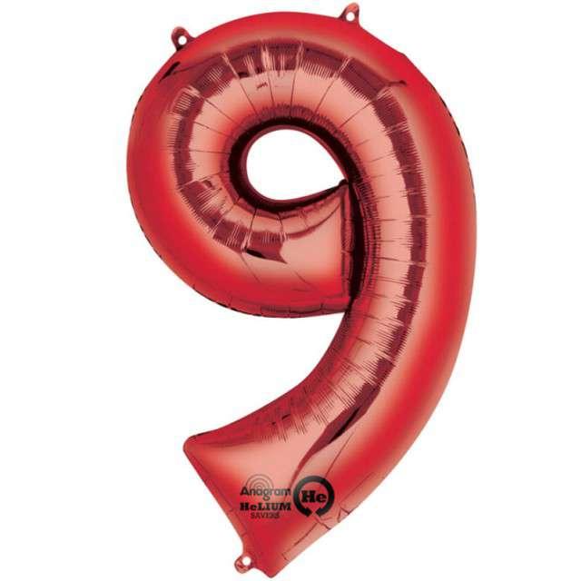 """Balon foliowy cyfra 9, 34"""", AMSCAN, czerwona"""