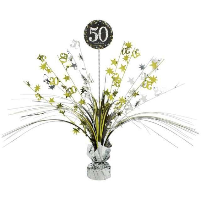 """Obciążnik do balonów """"Bukiet 50 urodziny"""", AMSCAN, srebrno-złoty, 250 g"""