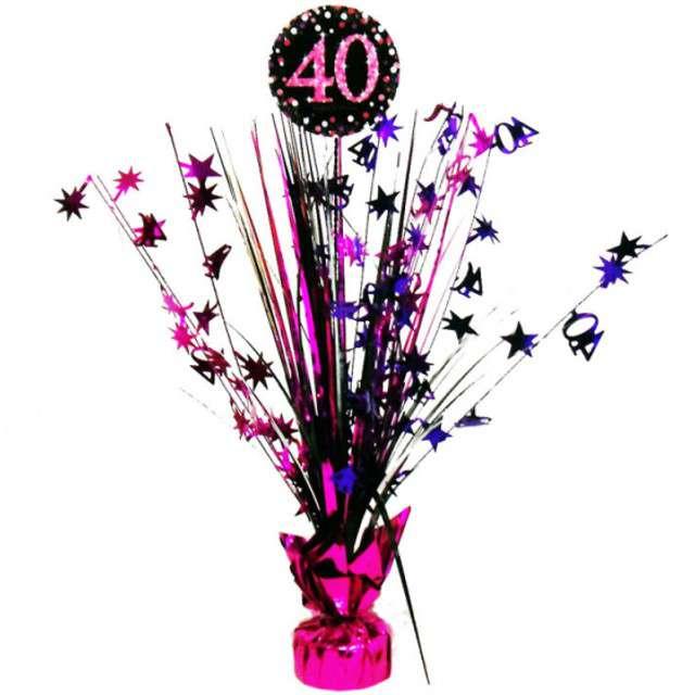 """Obciążnik do balonów """"Bukiet 40 urodziny"""", AMSCAN, różowo-czarny, 250 g"""