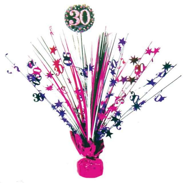 """Obciążnik do balonów """"Bukiet 30 urodziny"""", AMSCAN, różowo-czarny, 250 g"""