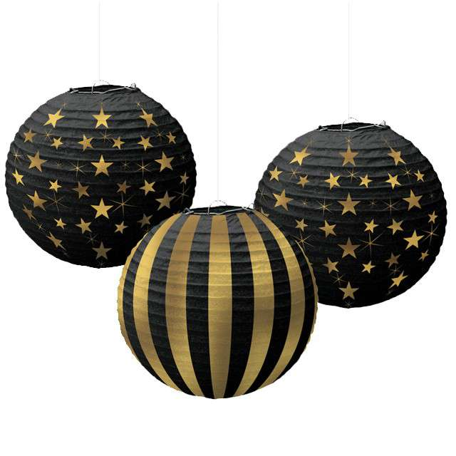 "Lampion papierowy ""Hollywood"", AMSCAN, 24 cm, 3 szt"