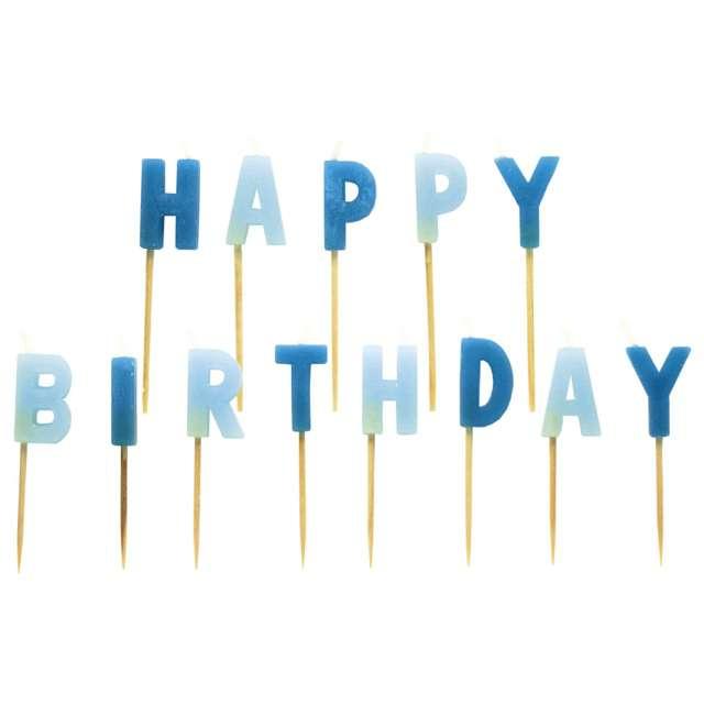 """Świeczki na tort """"HAPPY BIRTHDAY"""", błękitne, AMSCAN"""