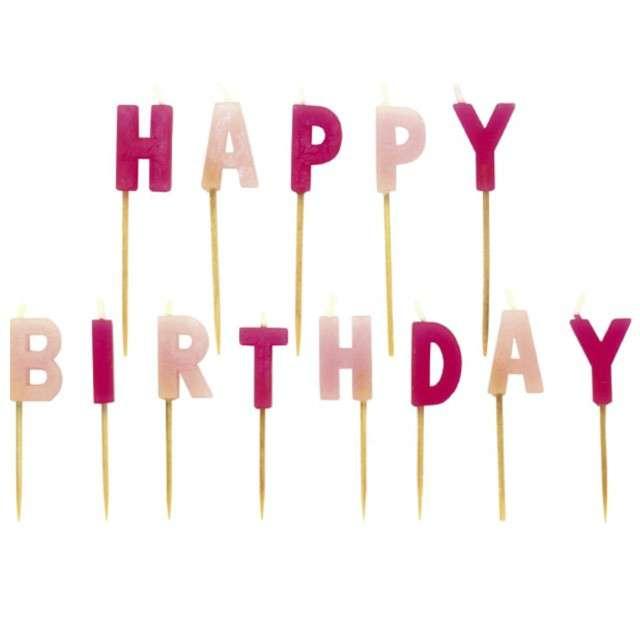 """Świeczki na tort """"HAPPY BIRTHDAY"""", różowe, AMSCAN"""