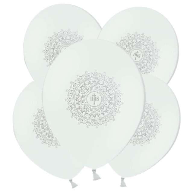Balony Hostia IHS srebrna białe 11 5szt