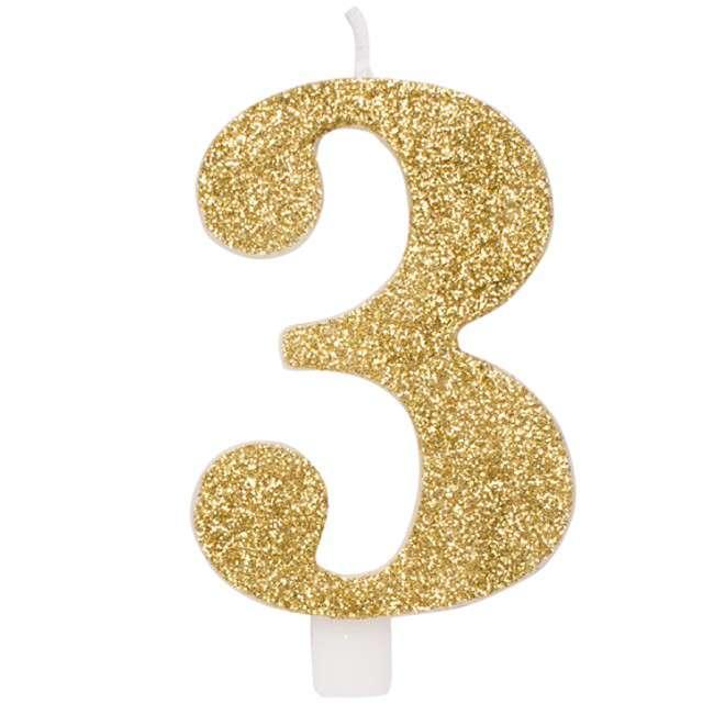 """Świeczka na tort """"3"""", GIVI ITALIA, złota z brokatem, 9,5 cm"""