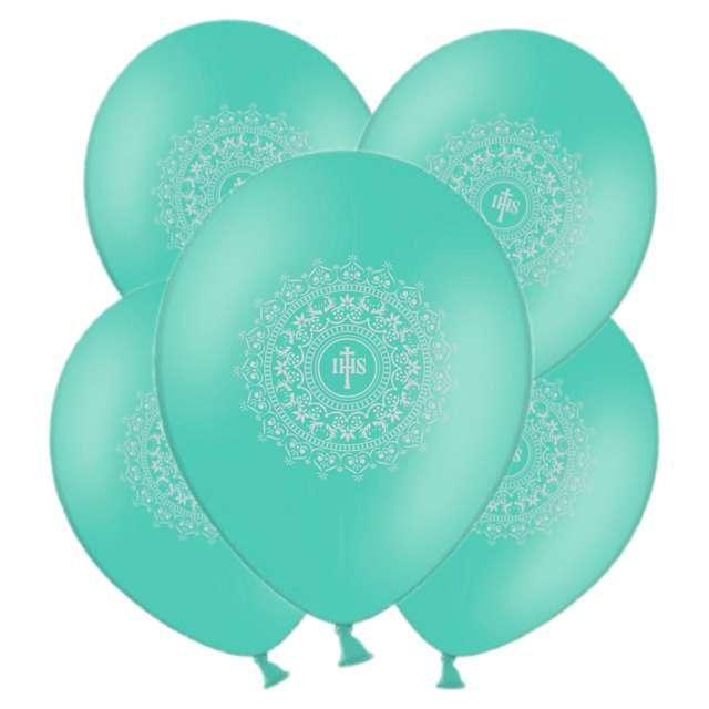 """Balony """"Hostia IHS srebrna"""", miętowe, 11"""", 5 szt"""