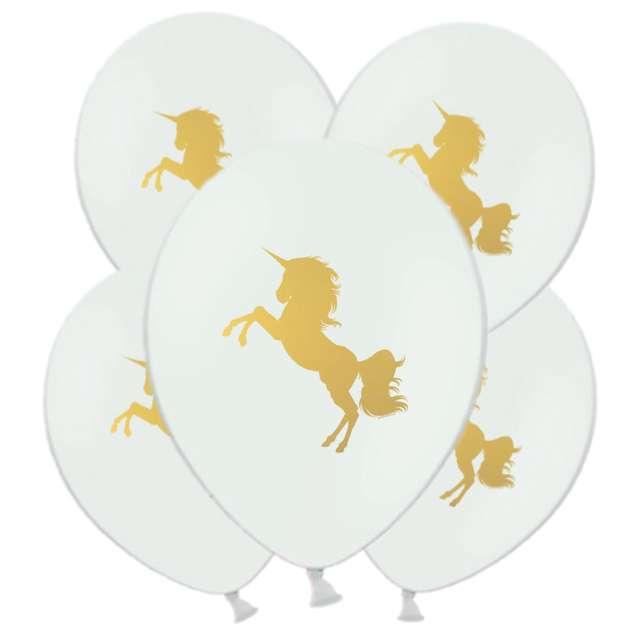 """Balony """"Unicorn Gold"""", białe, 11"""", 5 szt"""