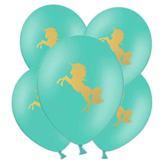 "Balony ""Unicorn Gold"", miętowe, 11"", 5 szt"