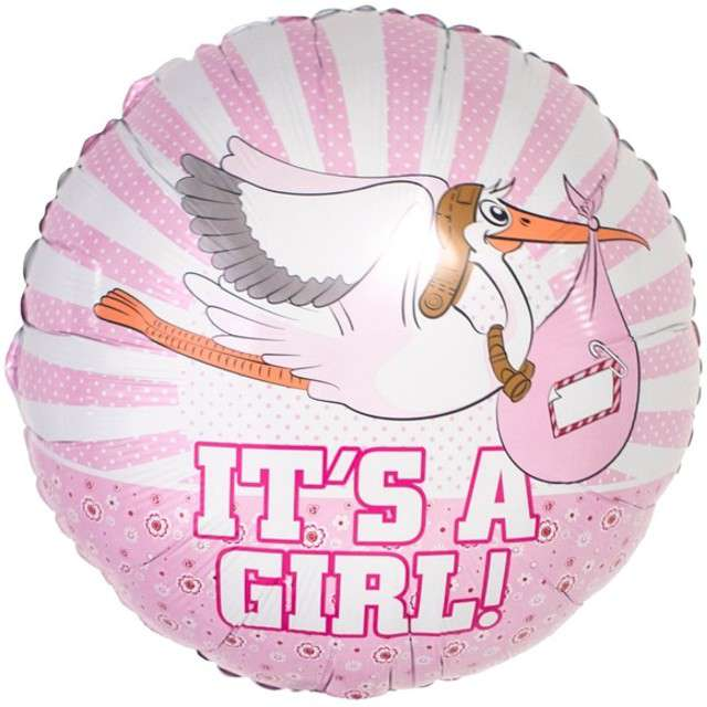 "Balon foliowy ""Its a Girl"", różowy, FOLAT, 18"" RND"