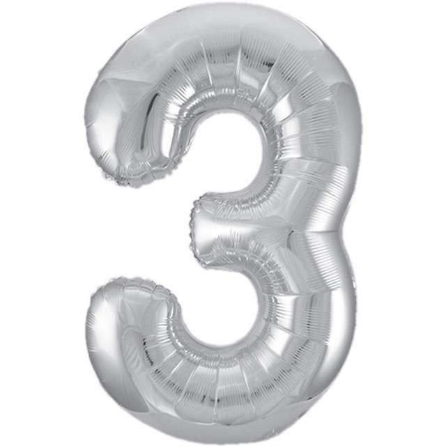 """Balon foliowy cyfra 3, srebrny, UNIQUE, 34"""""""