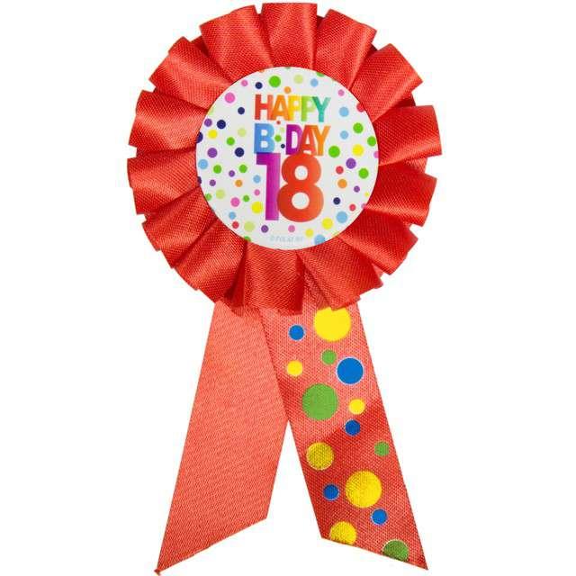 """Kotylion """"Urodziny 18 - Happy Bday"""", czerwony, FOLAT"""