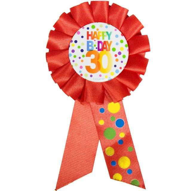 """Kotylion """"Urodziny 30 - Happy Bday"""", czerwony, FOLAT"""