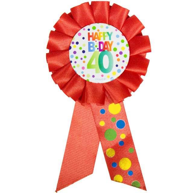 """Kotylion """"Urodziny 40 - Happy Bday"""", czerwony, FOLAT"""