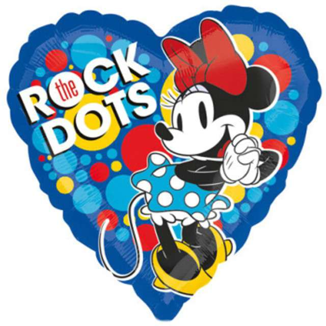 """Balon foliowy """"Myszka Minnie - Rock the Dots"""", niebieskie, AMSCAN, 17"""" HRT"""