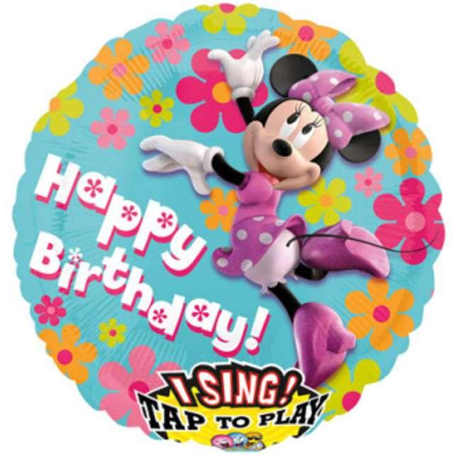 """Balon foliowy """"Happy Birthday - Myszka Minnie"""", grający, AMSCAN, 28"""" RND"""