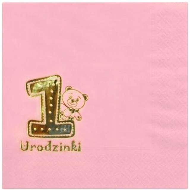 """Serwetki """"1 Urodzinki"""", różowe, GAJO, 20 szt"""