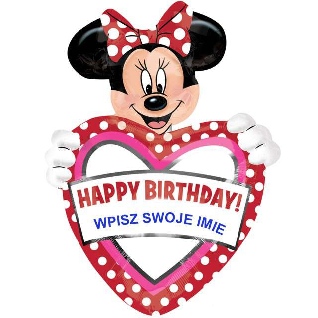 """Balon foliowy """"Minnie - Happy Birthday WŁASNY NAPIS"""", AMSCAN, 33"""" HRT"""