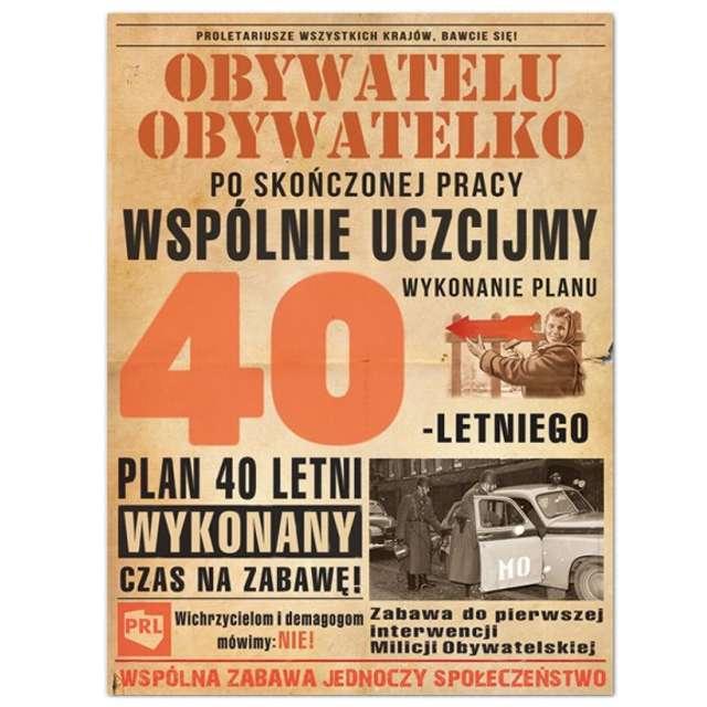 """Etykieta na butelkę """"Urodziny 40-Letni plan PRL"""", 95x125 mm, 25 szt"""