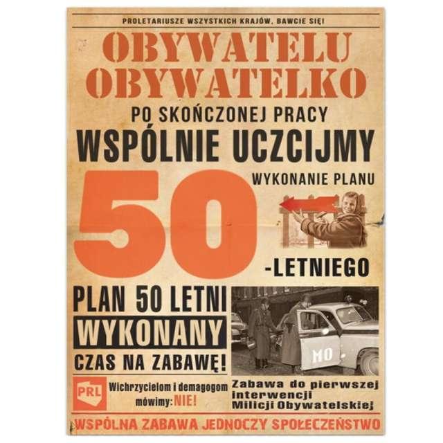 """Etykieta na butelkę """"Urodziny 50-Letni plan PRL"""", 95x125 mm, 25 szt"""