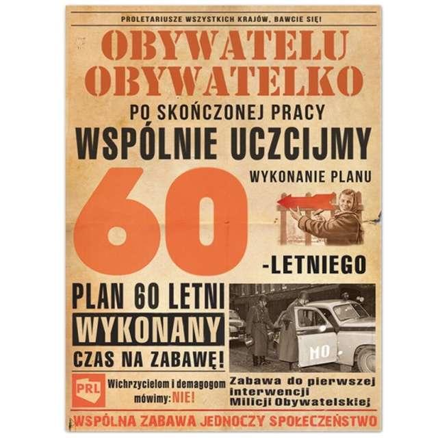 """Etykieta na butelkę """"Urodziny 60-Letni plan PRL"""", 95x125 mm, 25 szt"""